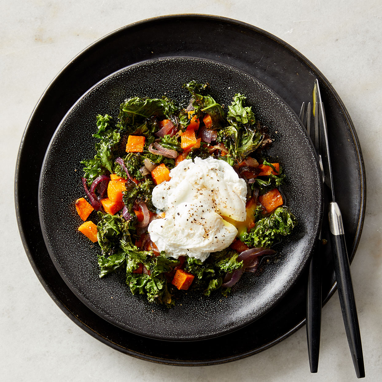 This one-pan hash makes an easy fall dinner or a simple dish for a healthy brunch. You can even poach the eggs ahead of time—slip them into steaming-hot water to rewarm them just before serving.