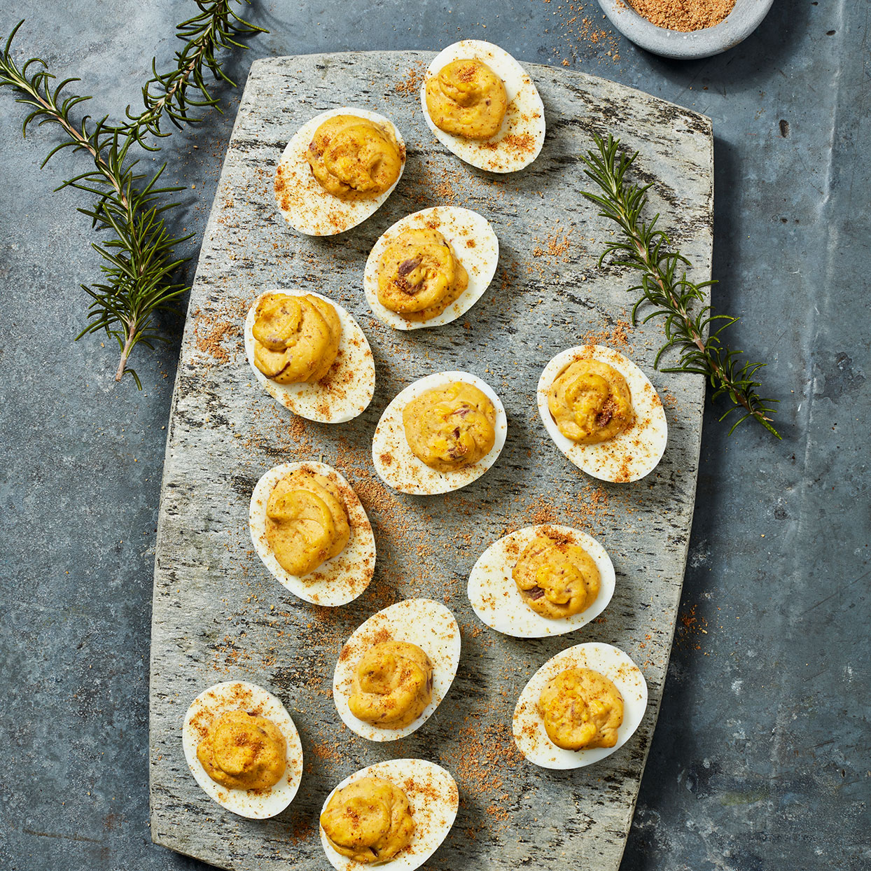Why do the yolks of deviled eggs get all the love? This healthy deviled eggs recipe reserves some of the seasoning to sprinkle on the usually bland whites as well.