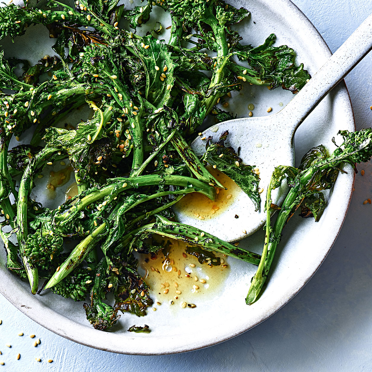 You can go without using oil if you are cooking broccoli rabe in the dry heat of a skillet. It adds a nice sear to the oranges as well. Seasoned with toasty sesame, this healthy vegetable side dish is an easy flavor upgrade.