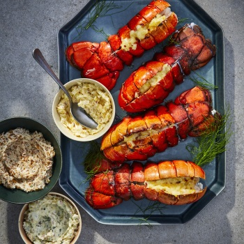 This easy holiday appetizer calls for lobster tails, the meatiest part of the lobster, which you can buy fresh or frozen. We've also included three easy and delicious compound butters to choose from to pair with the lobster meat: this recipe makes classic lobster thermidor butter, with the rich mix of Parmesan cheese, herbs and brandy; see Tips (below) to swap in an earthy porcini mushroom butter or a bright fennel and lemon butter.