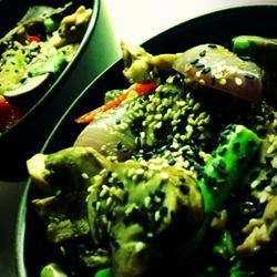 Killer Chicken with Mushroom, Asparagus, and Red Bell Pepper