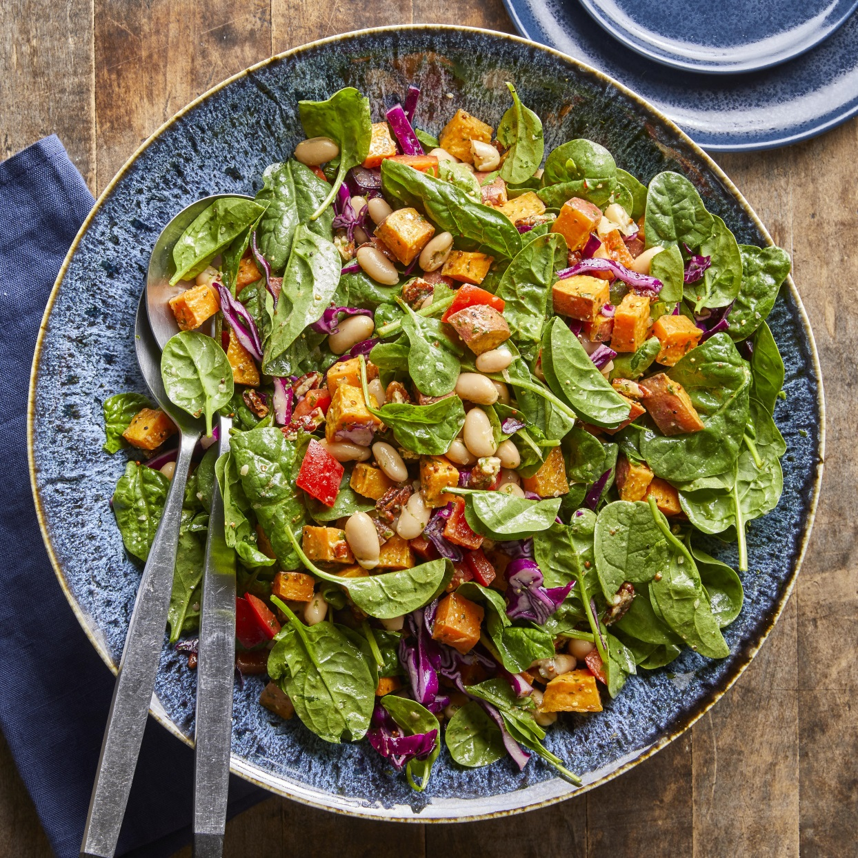 Spinach Salad with Roasted Sweet Potatoes, White Beans & Basil