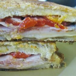 Grilled Roasted Red Pepper and Ham Sandwich mommyluvs2cook