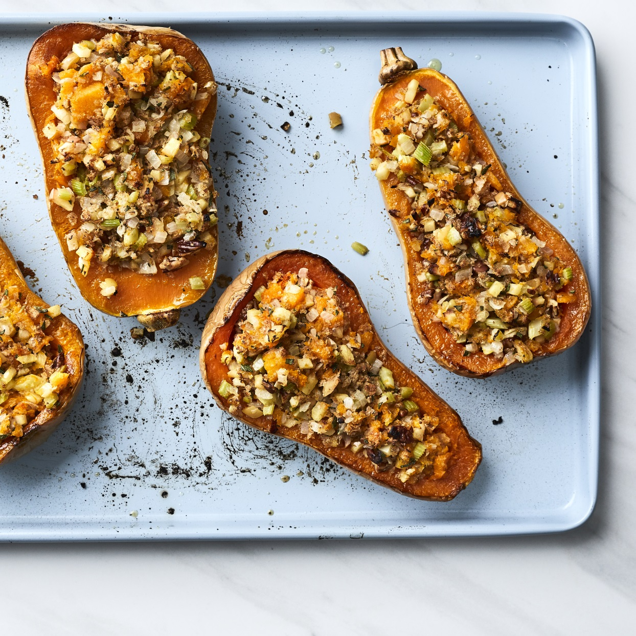 Apple Pecan Stuffed Butternut Squash Recipe Eatingwell