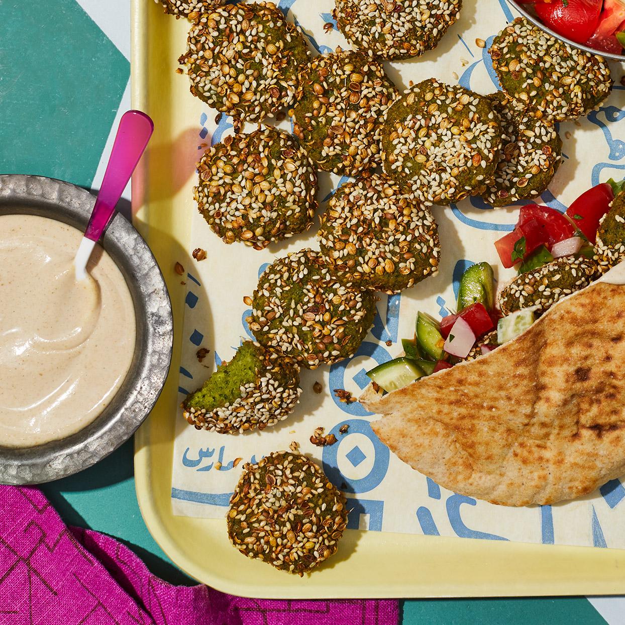 Egyptian Falafel With Tahini Sauce Taameya Recipe Eatingwell