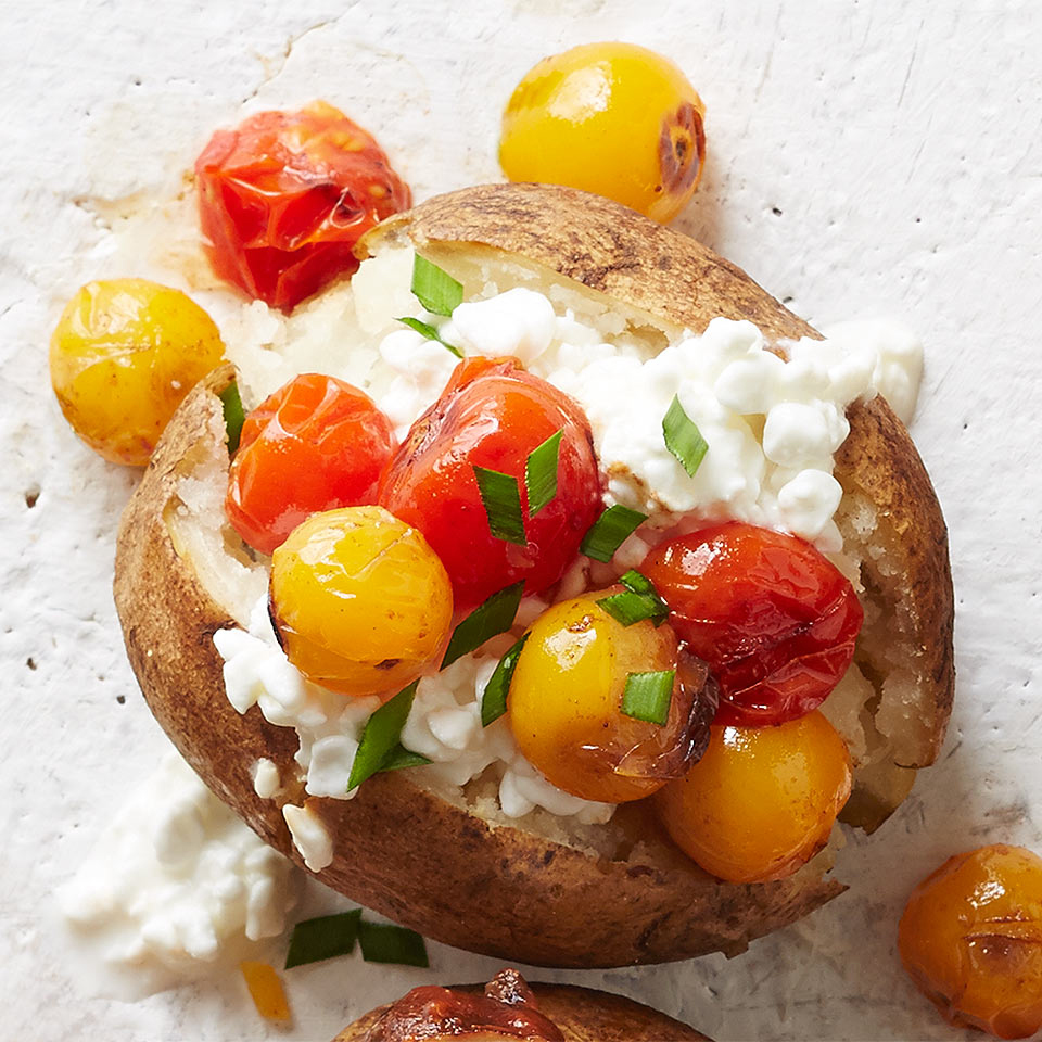 Cottage Cheese And Roasted Tomato Topped Potato Recipe Eatingwell