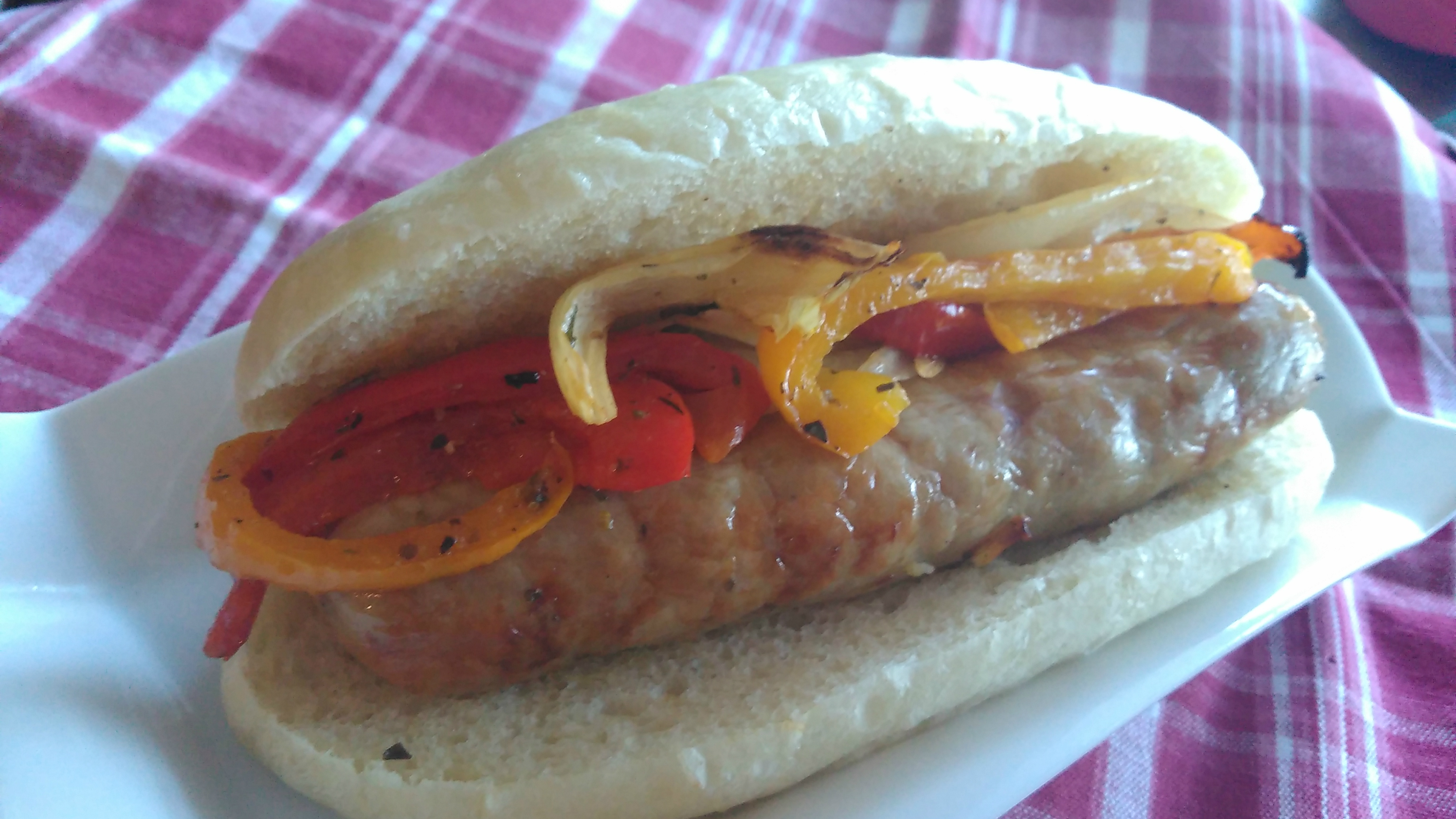 Air Fryer Italian Sausages, Peppers, and Onions image