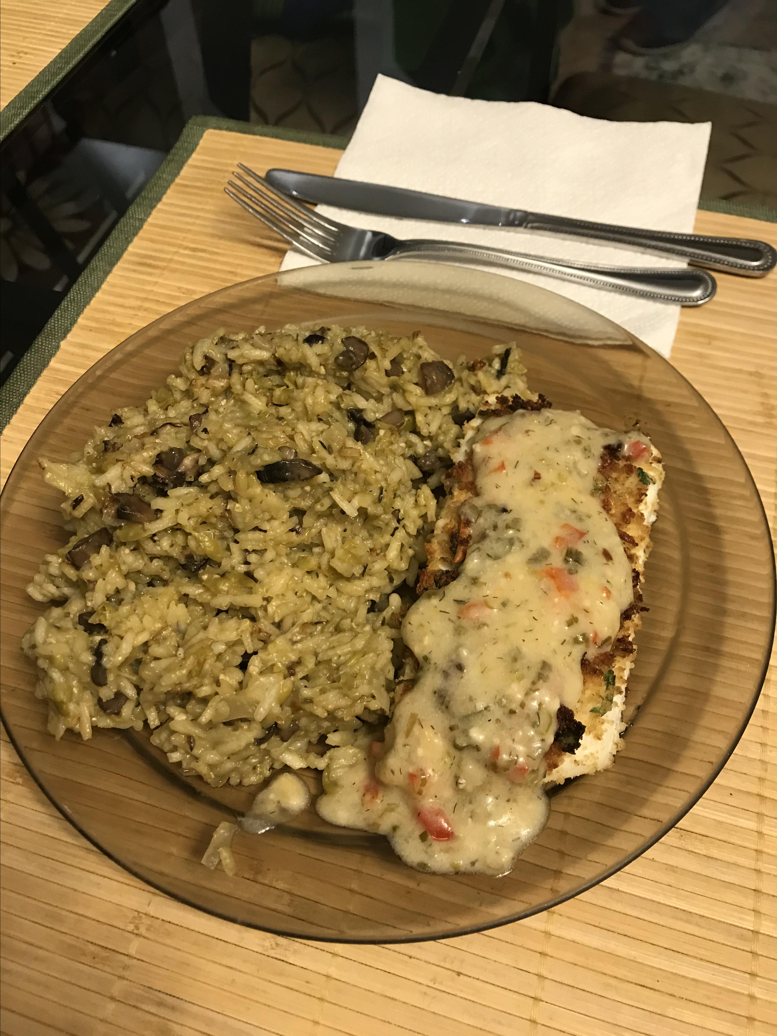Halibut with Creamy Garlic and Herb Sauce image