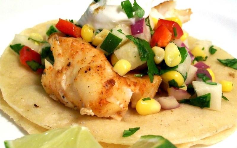 Fiery Fish Tacos with Crunchy Corn Salsa