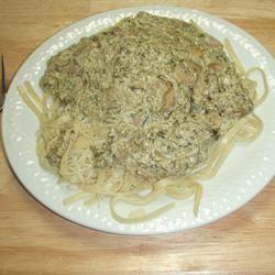 Spinach Mushroom and Ricotta Fettuccine