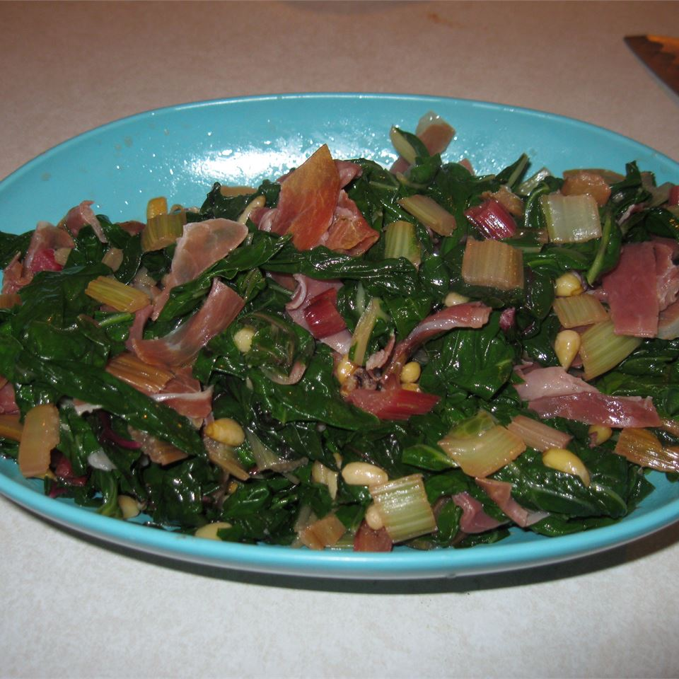 Red Swiss Chard with Pine Nuts and Prosciutto