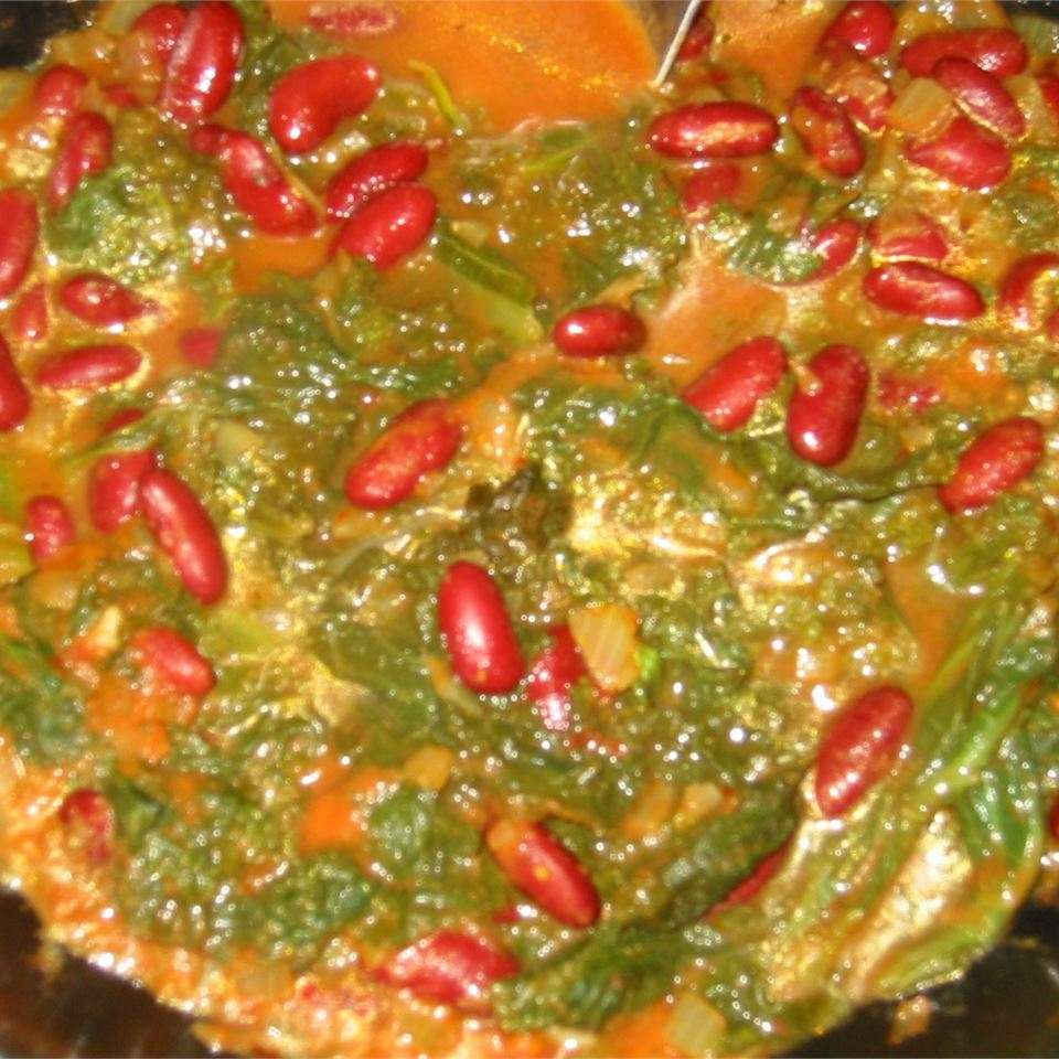Curried Mustard Greens with Kidney Beans Jill