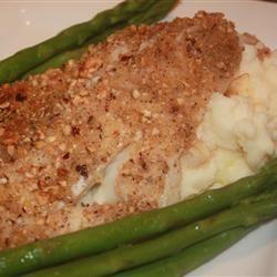 Hazelnut Crusted Halibut with Garlic Mashed Potatoes thedailygourmet