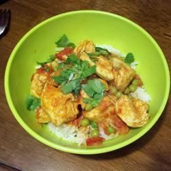 East Indian Chicken with Tomato, Peas, and Cilantro Kittenkriss