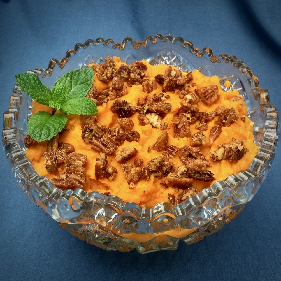 Slow Cooker Mashed Sweet Potatoes with Spicy Pecan Topping image