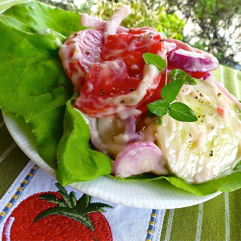 Creamy Cucumber and Tomato Salad image