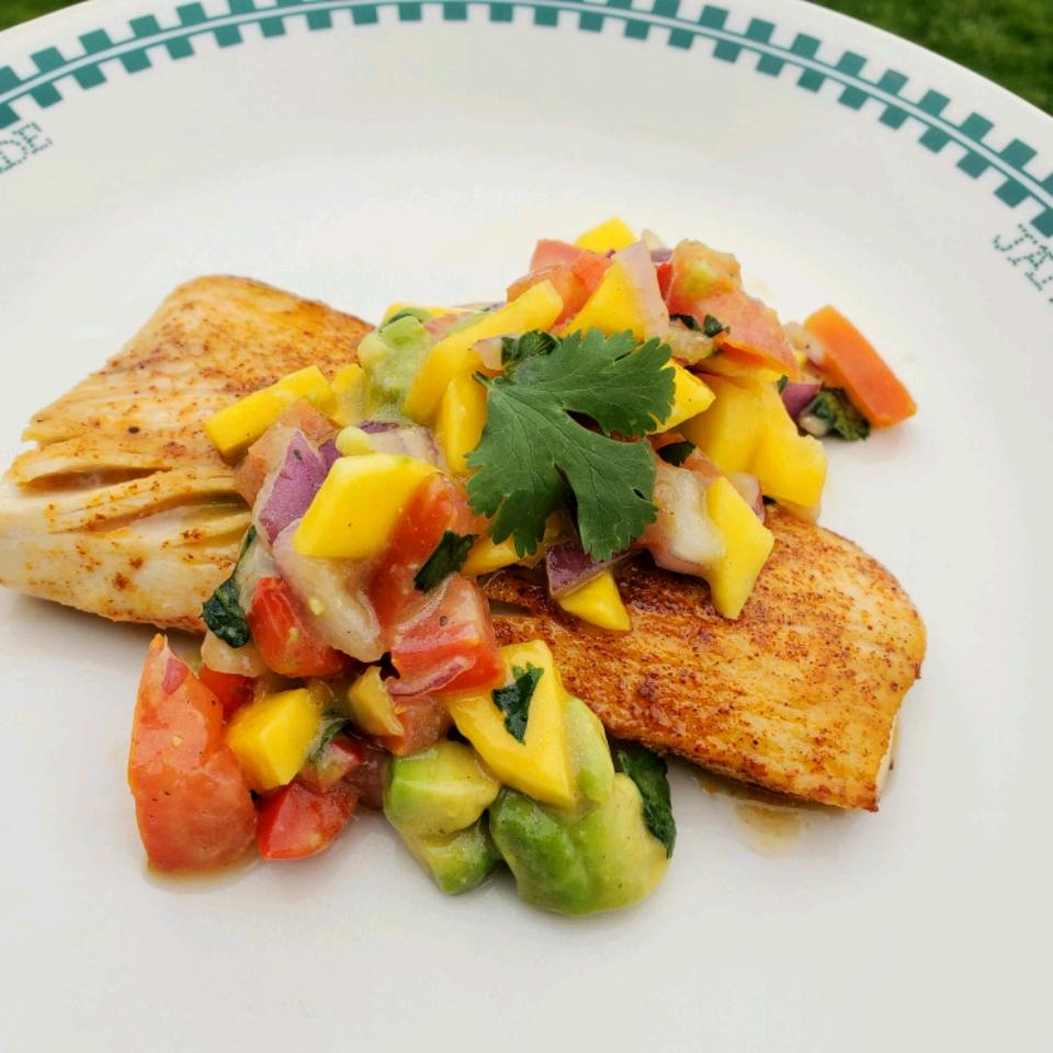 Healthy Fish Tacos with Mango Salsa image