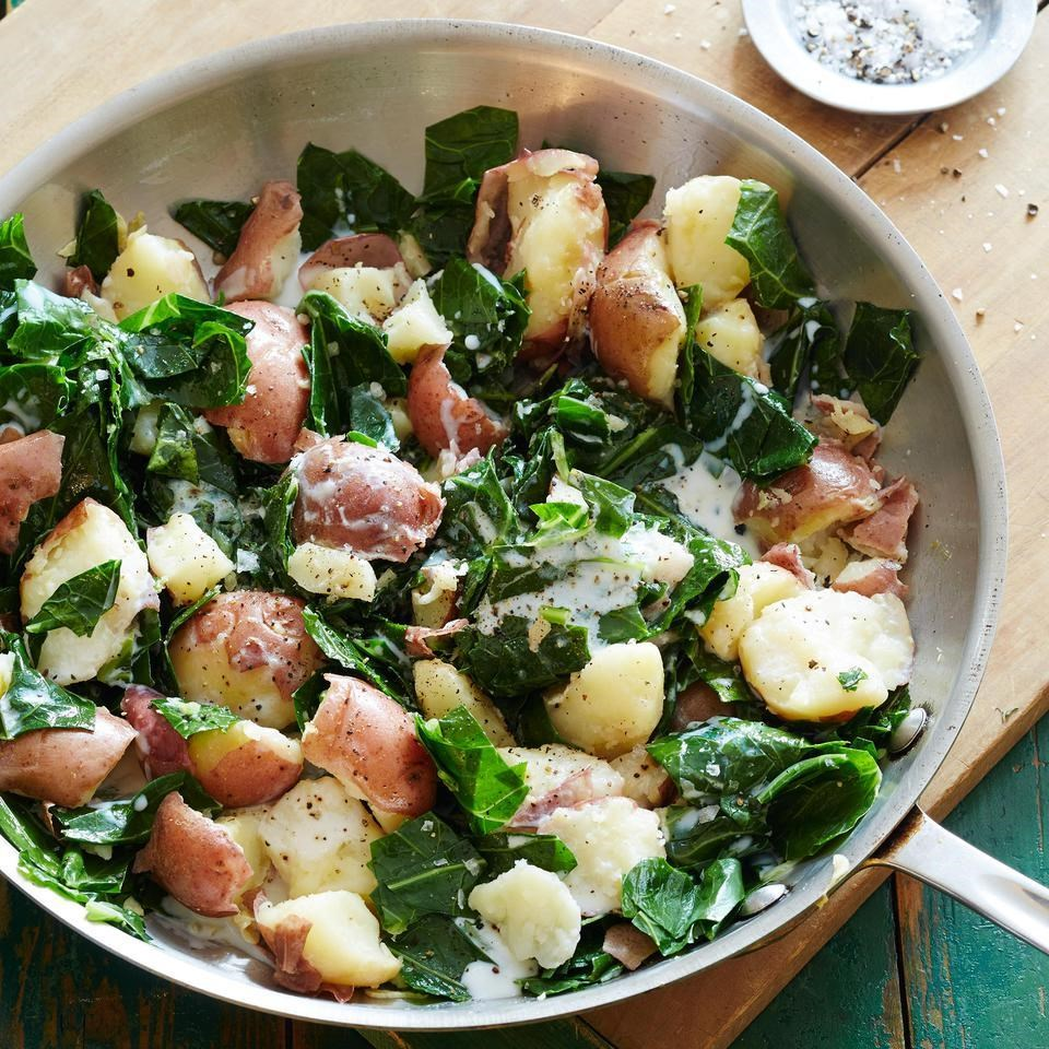 Crushed Red Potatoes with Winter Greens