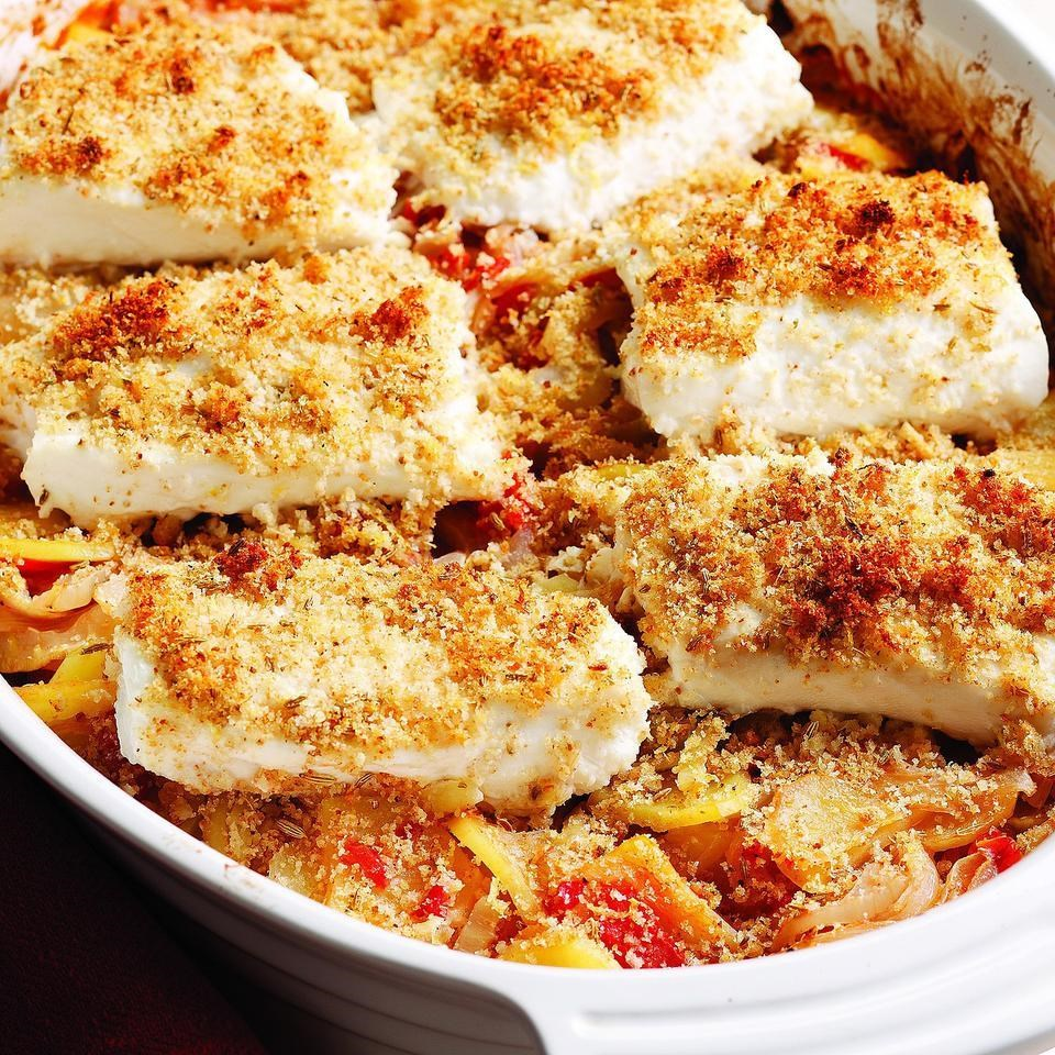 Mediterranean roasted fish vegetables recipe eatingwell for Fish and vegetable recipes