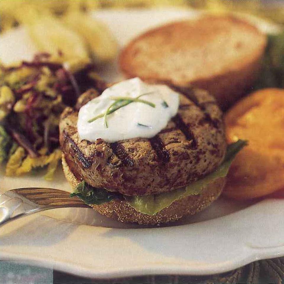 Turkey-Mushroom Burgers with Scallion-Lemon Mayonnaise