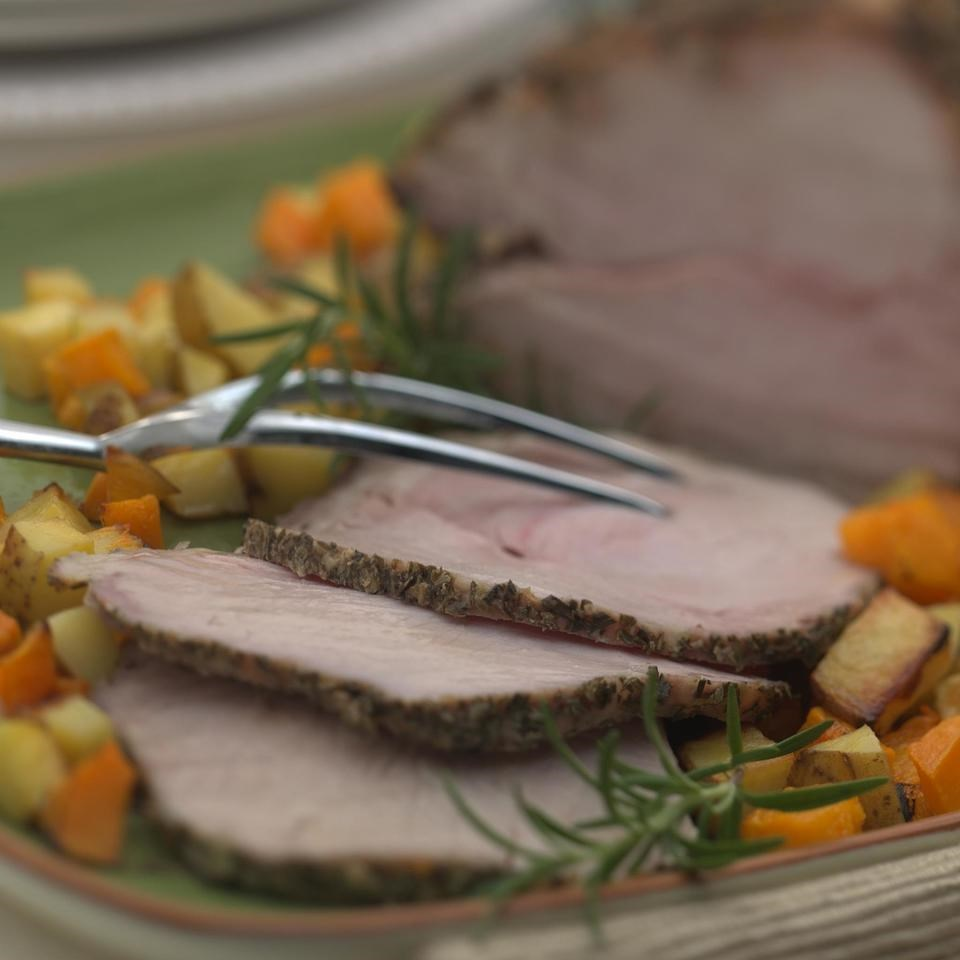 Rosemary & Garlic Crusted Pork Loin with Butternut Squash & Potatoes