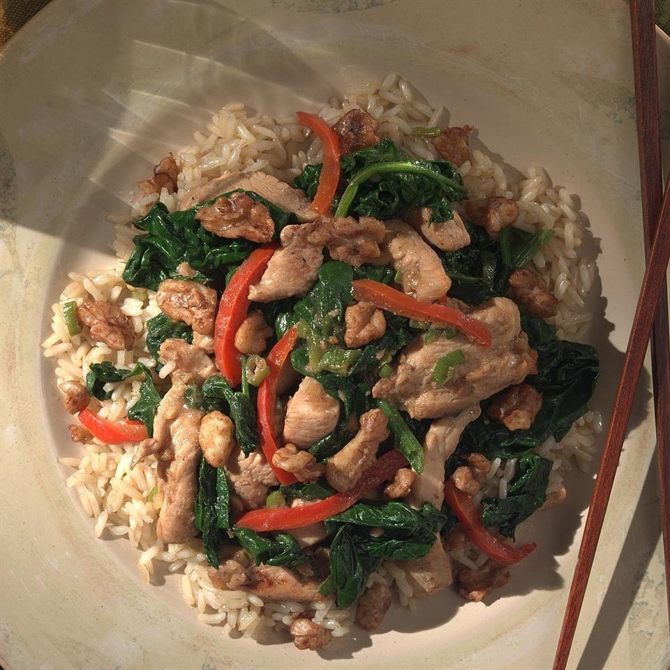 Stir-Fried Chicken with Wilted Spinach & Tamari Walnuts