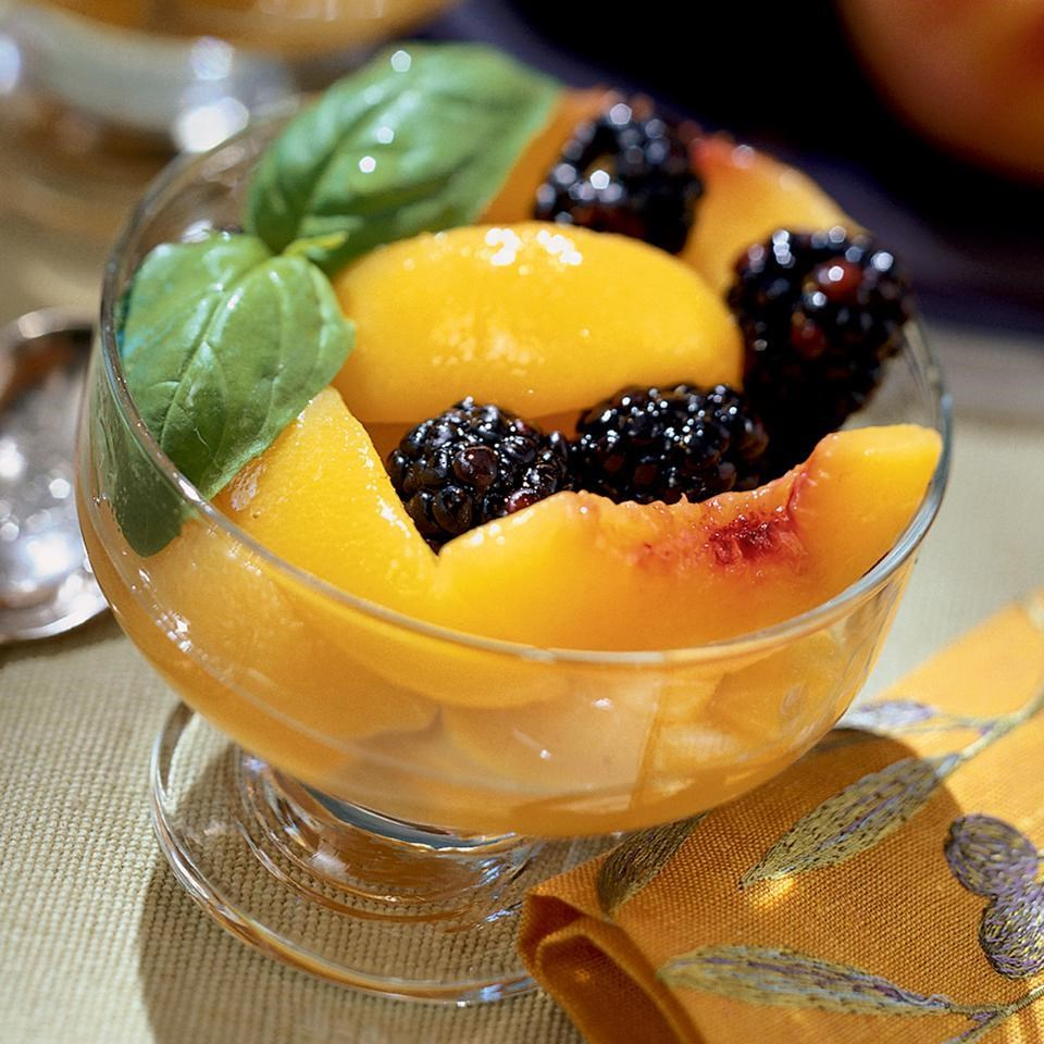 Peach Blackberry Compote With Basil Syrup Recipe Eatingwell