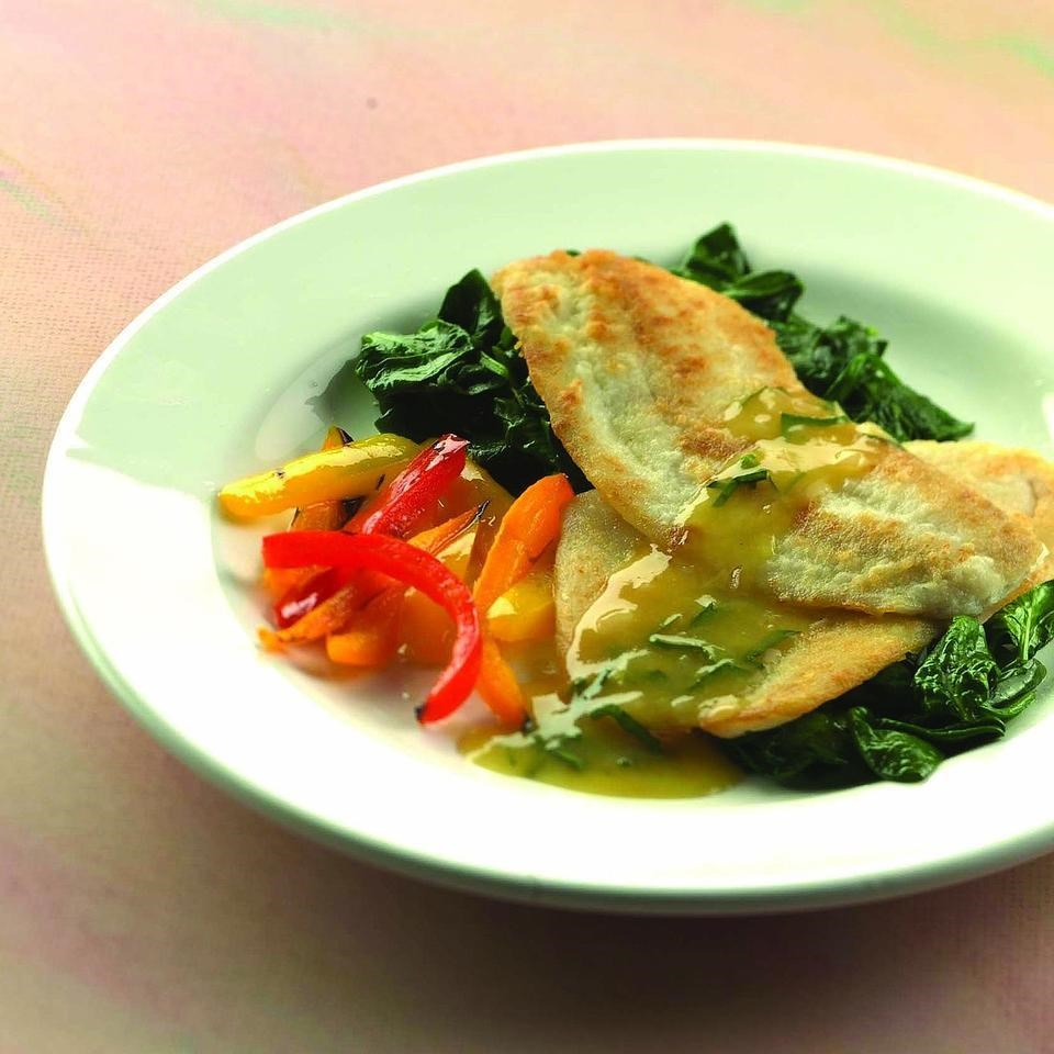 Sauteed flounder with orange shallot sauce recipe eatingwell for Sole fish nutrition