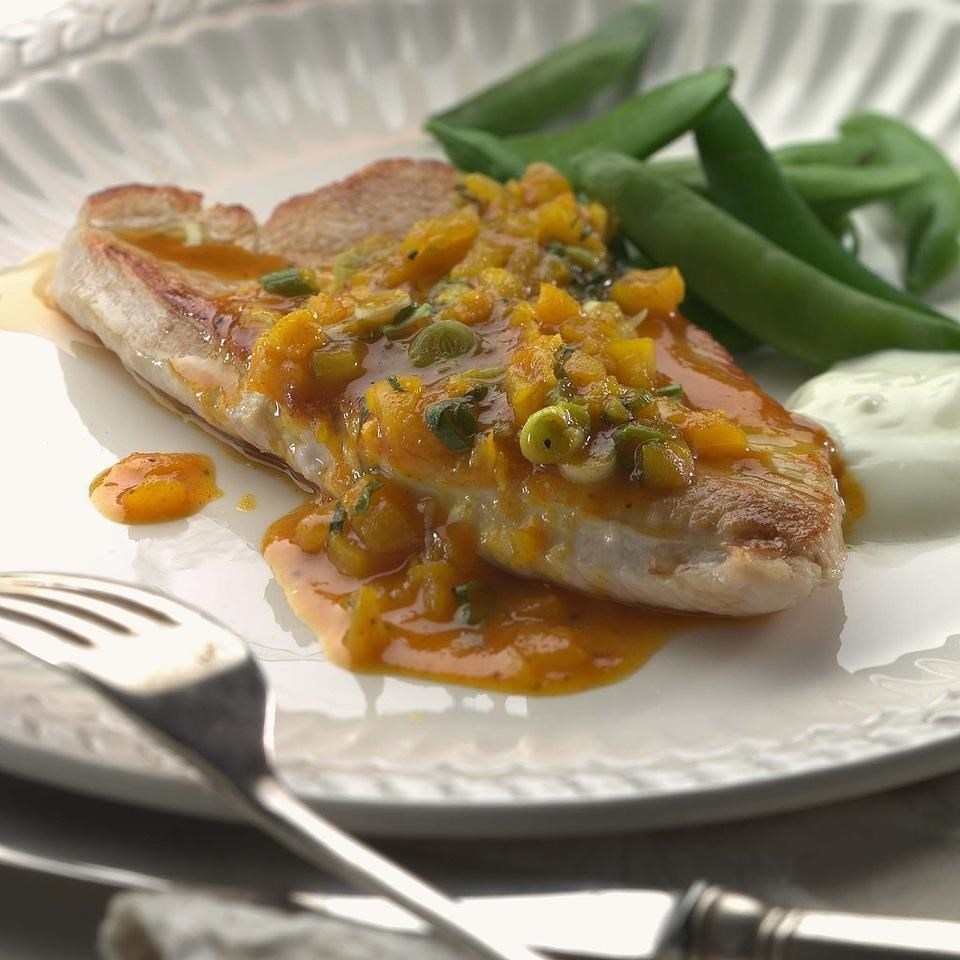 Curried Turkey Cutlets with Dried Apricots