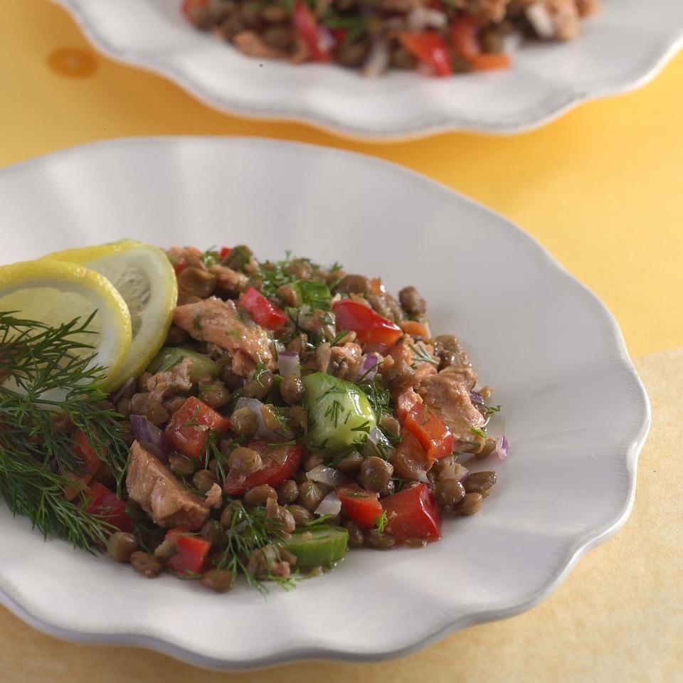 Lemony Lentil Salad with Salmon