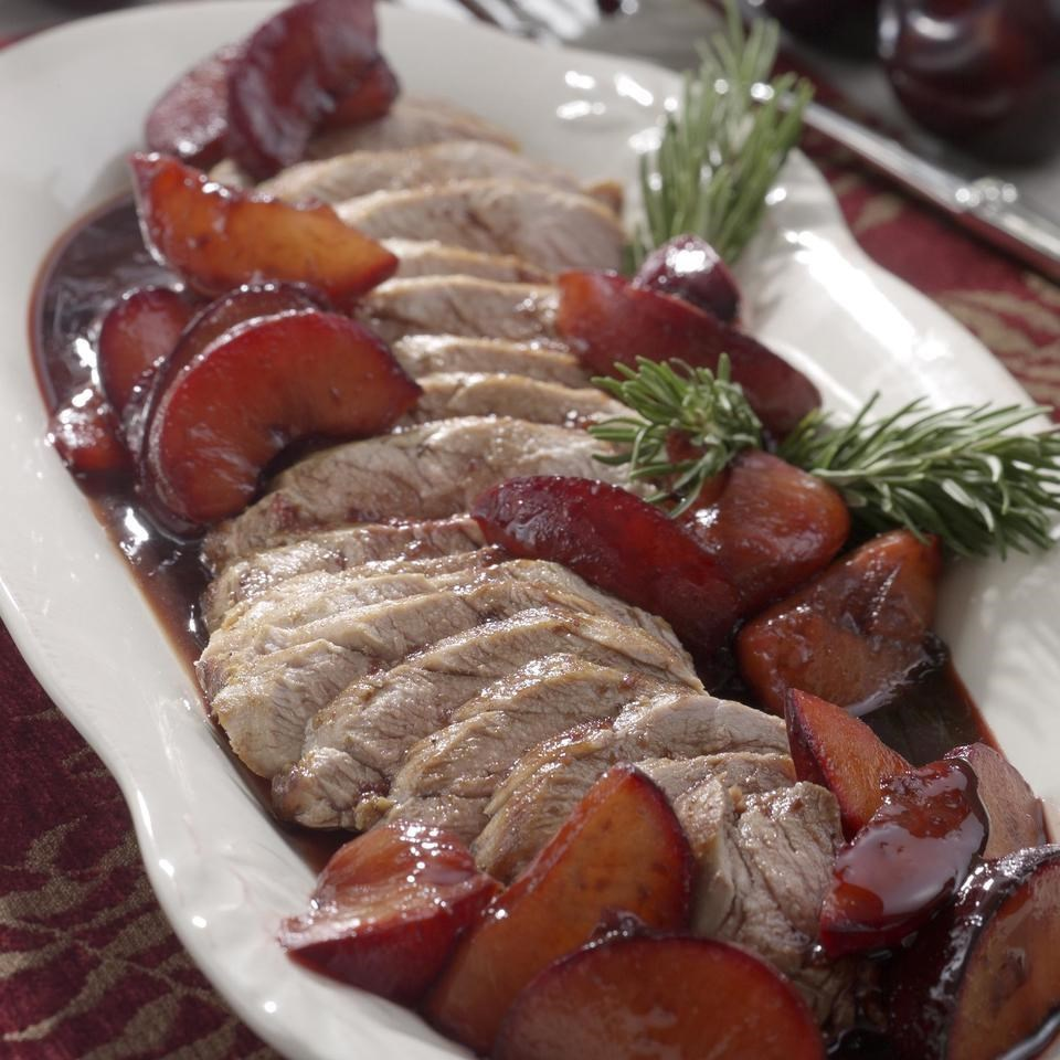 Pork Tenderloin with Roasted Plums & Rosemary