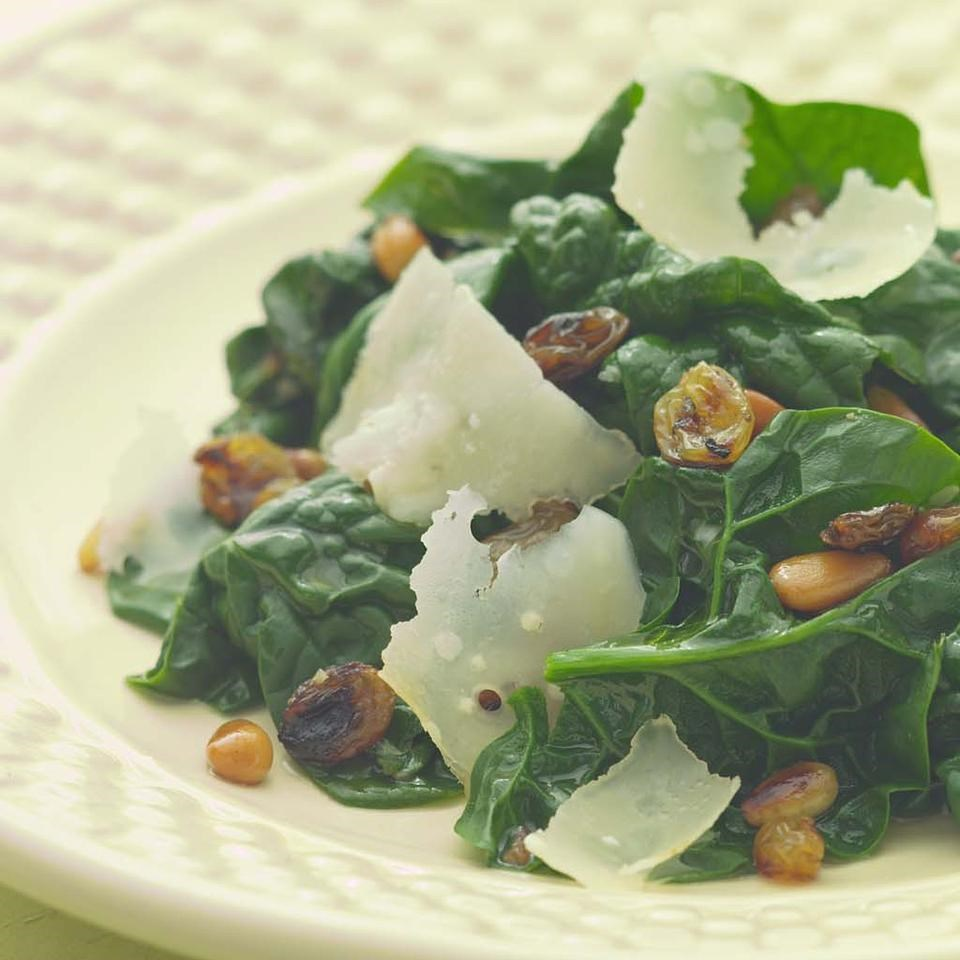 Sauteed Spinach with Pine Nuts & Golden Raisins
