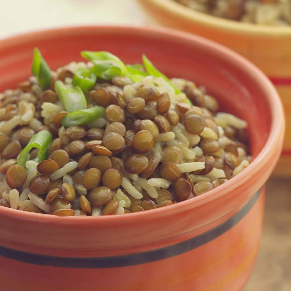 Baked Curried Brown Rice & Lentil Pilaf