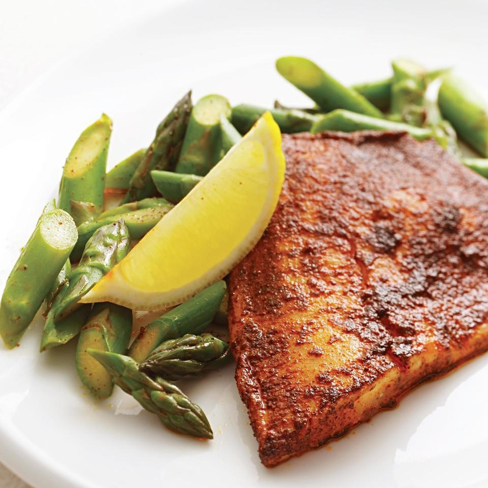 Chili rubbed tilapia with asparagus lemon recipe for Is tilapia a healthy fish to eat