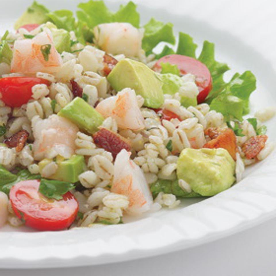 Bacony Barley Salad with Marinated Shrimp