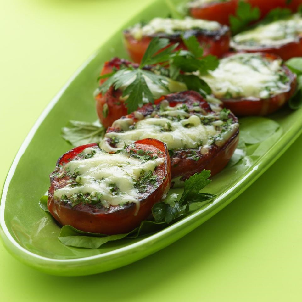 Skillet-Seared Tomatoes with Melted Gruyere