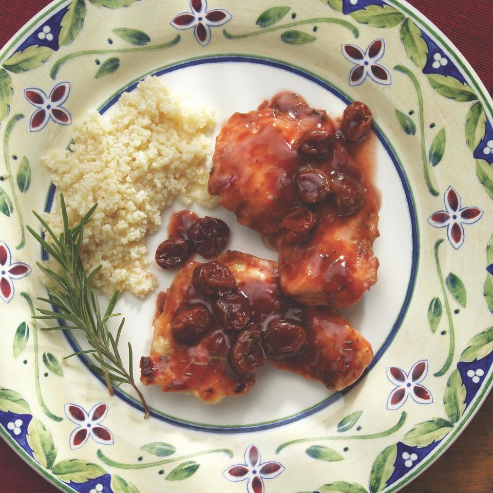 Turkey Cutlets with Dried Cherries, Rosemary & Port