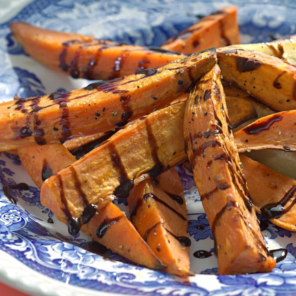 Roasted Yams: Roasted Sweet Potatoes With Balsamic Drizzle Recipe