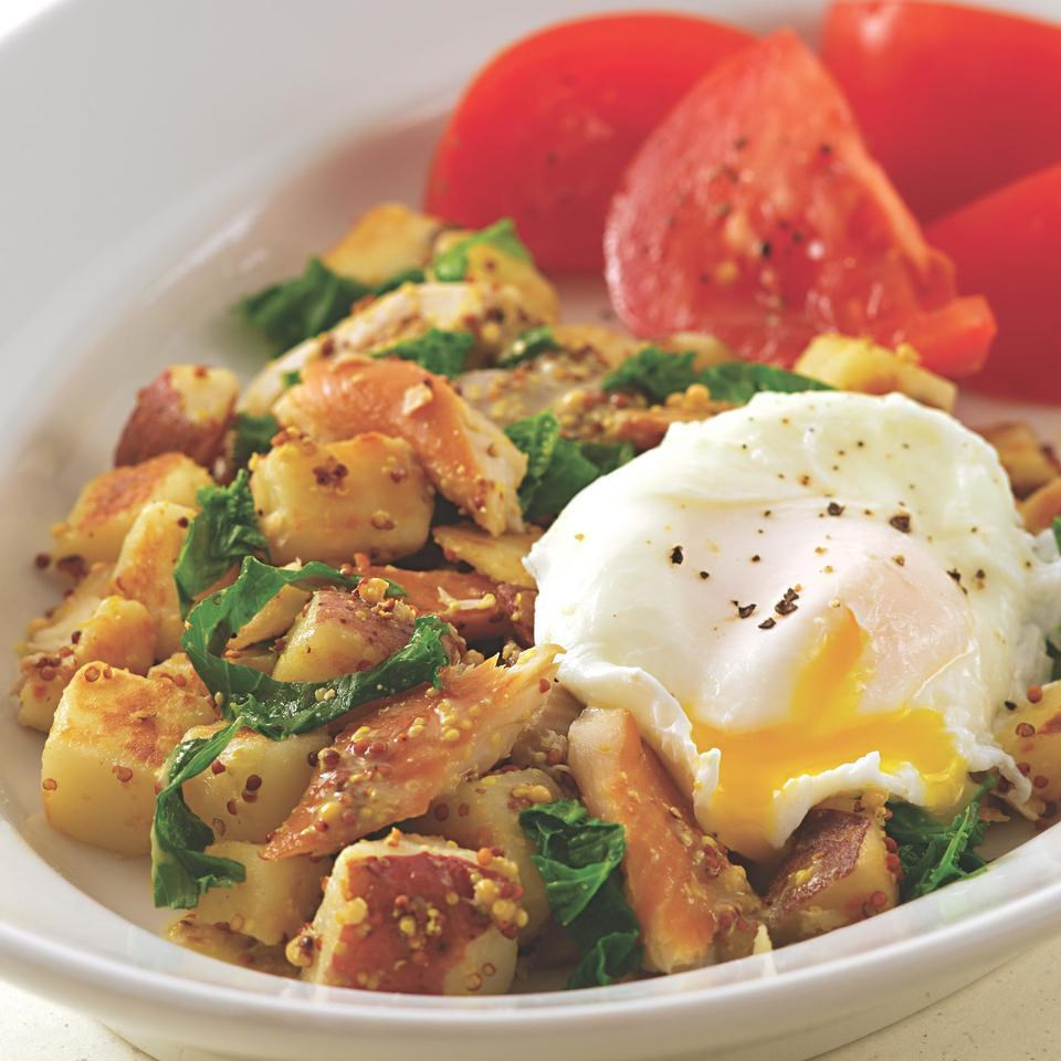 Smoked Trout Hash With Mustard Greens Recipe