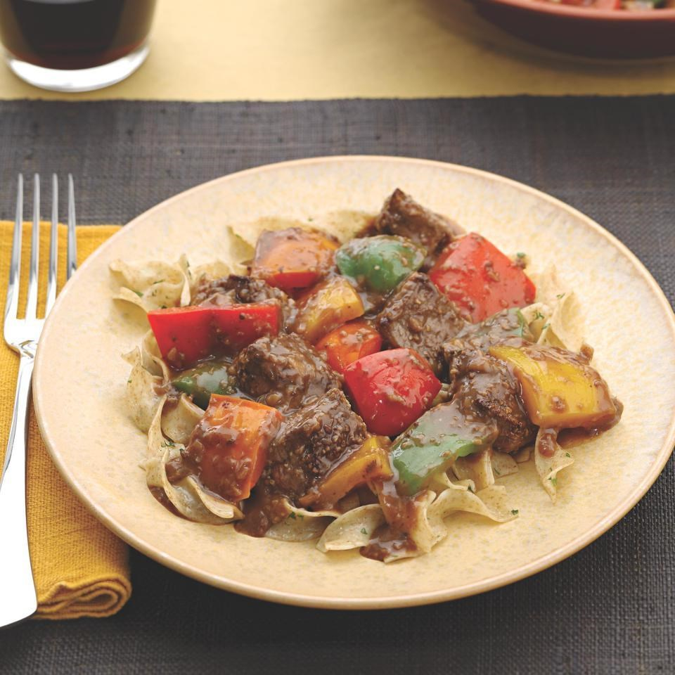 Fennel-Crusted Sirloin Tips with Bell Peppers