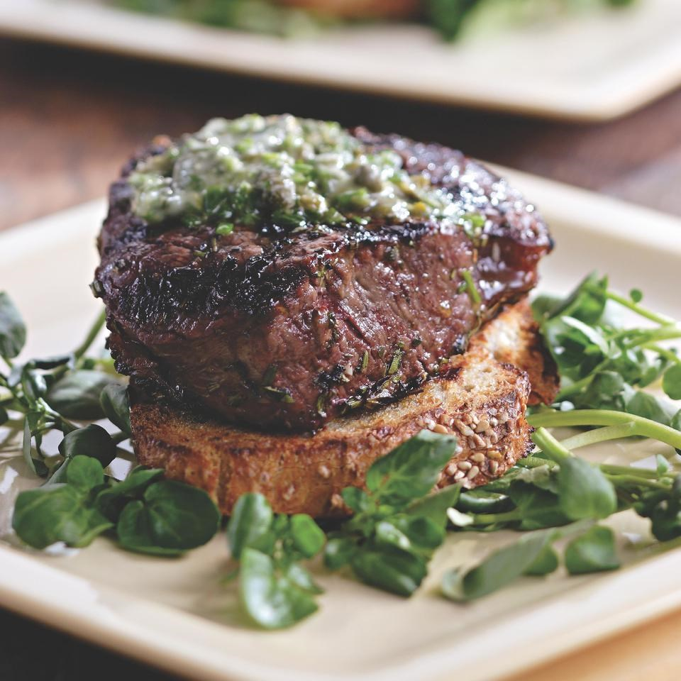 Grilled Filet Mignon With Herb Butter Amp Texas Toasts Recipe Eatingwell