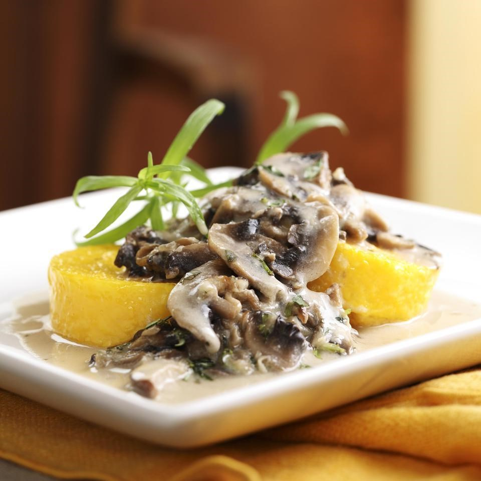 Polenta with Creamy Mushroom Sauce Recipe - EatingWell