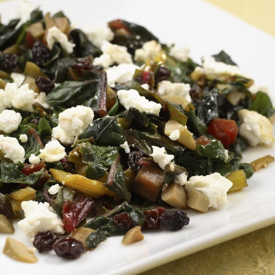 Chard with Green Olives, Currants & Goat Cheese
