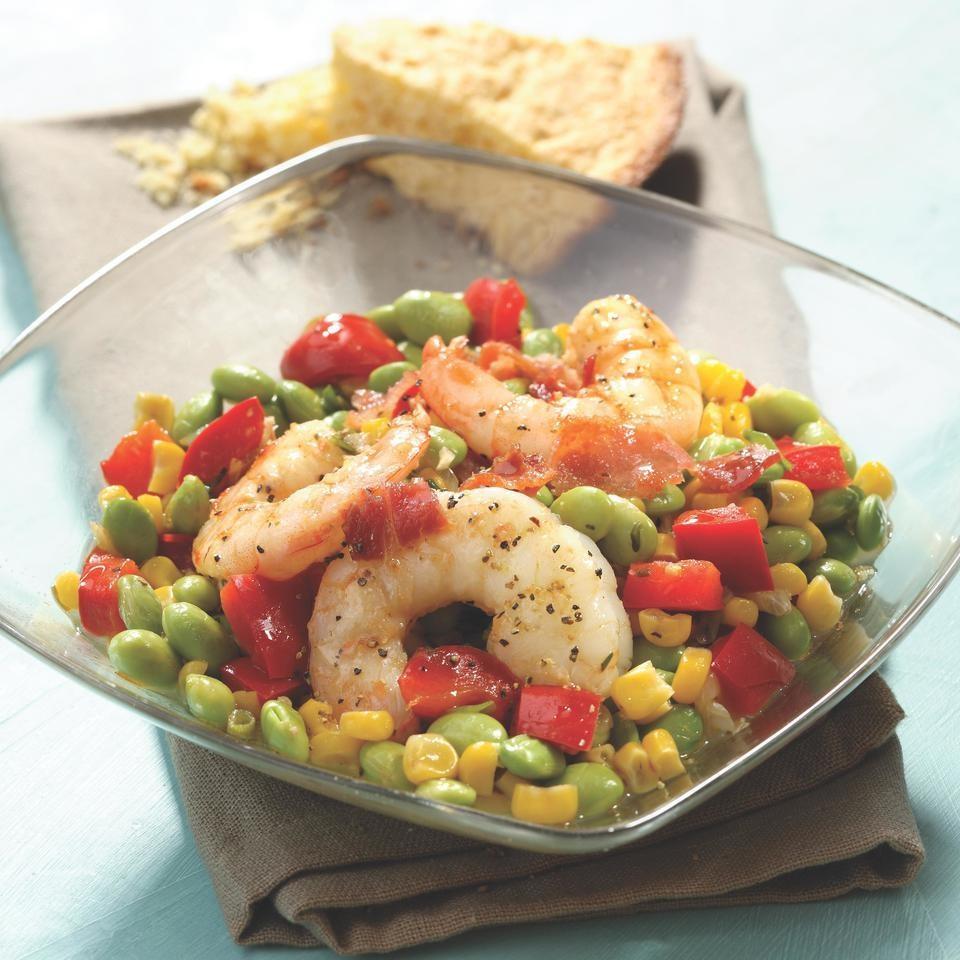 Edamame Succotash with Shrimp