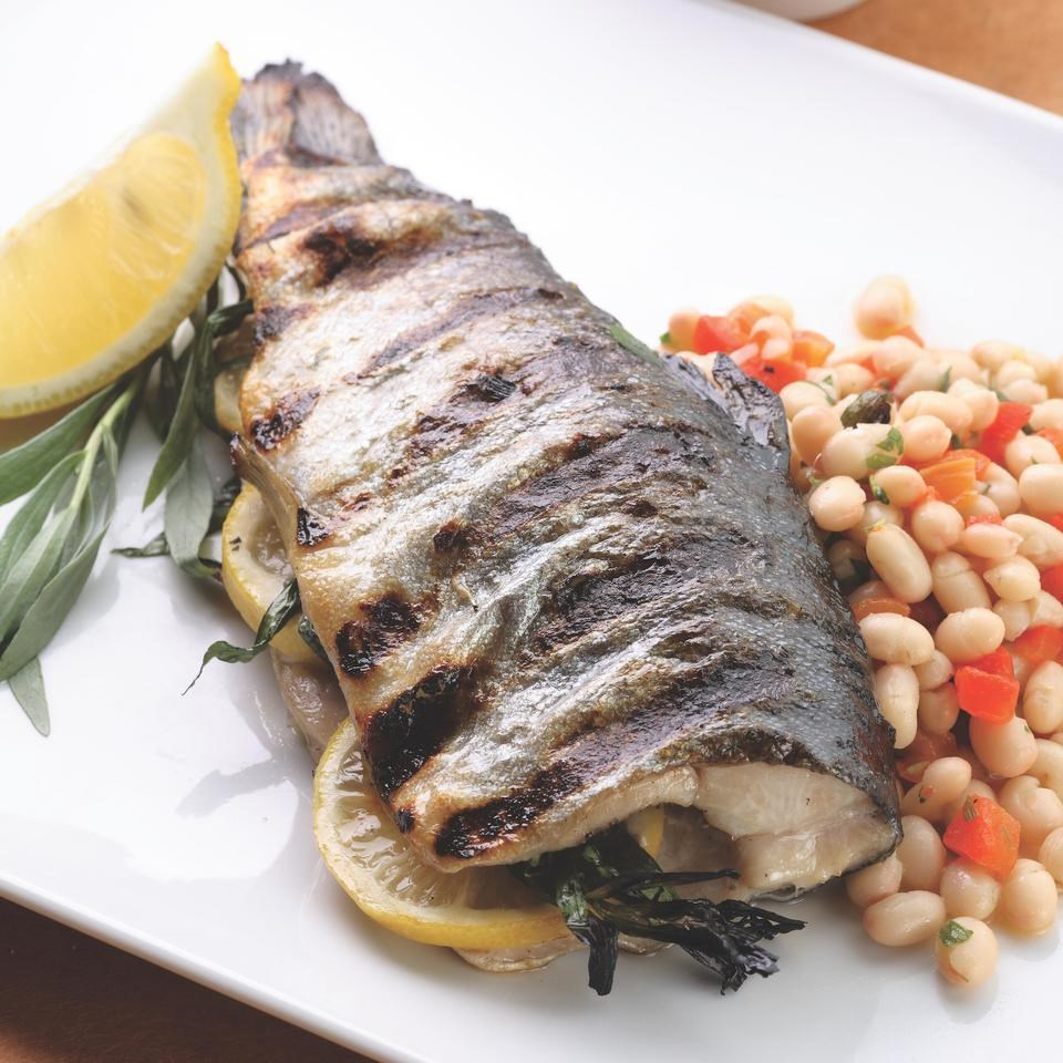 Grilled Whole Trout With Lemon-Tarragon Bean Salad Recipe