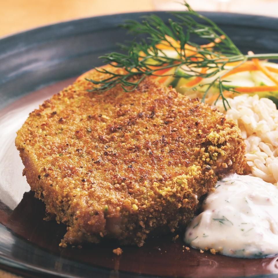 Pistachio crusted tuna steaks recipe eatingwell for Fish steak recipe
