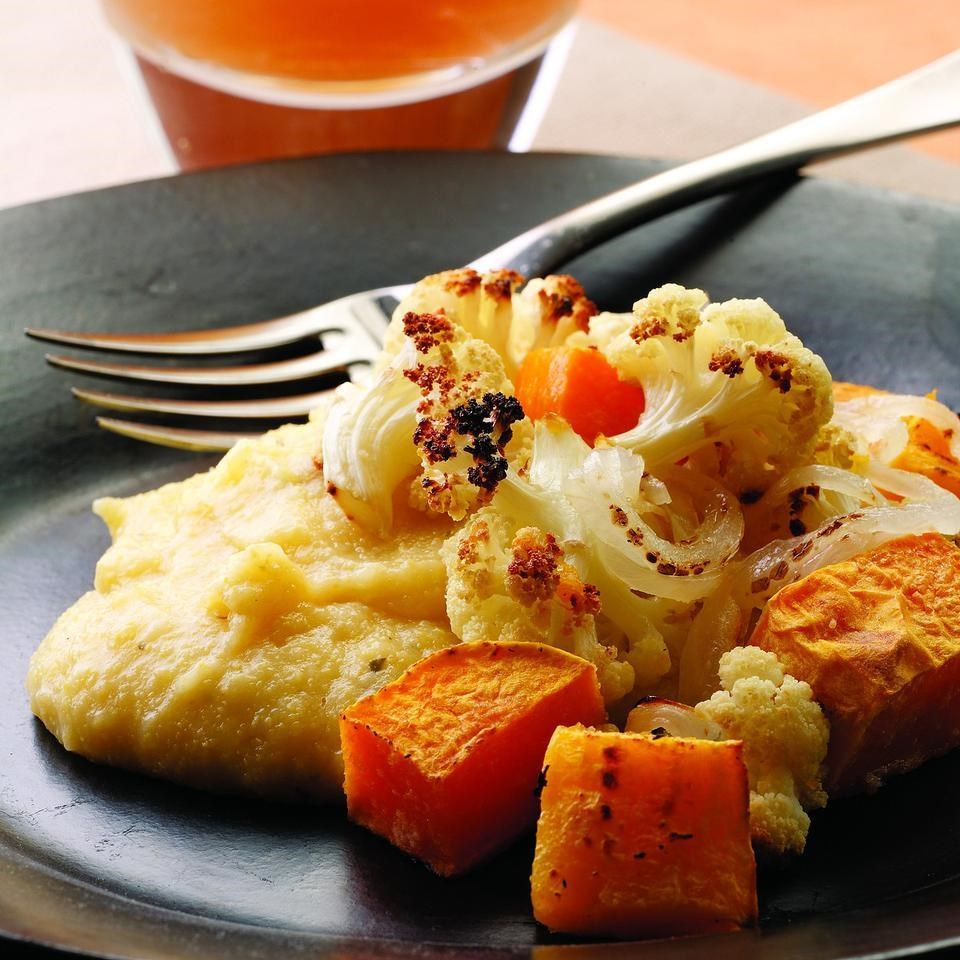 Healthy Winter Recipes: Roasted Winter Vegetables With Cheesy Polenta Recipe