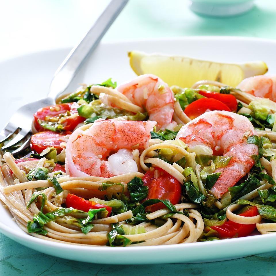 Linguine with Escarole & Shrimp
