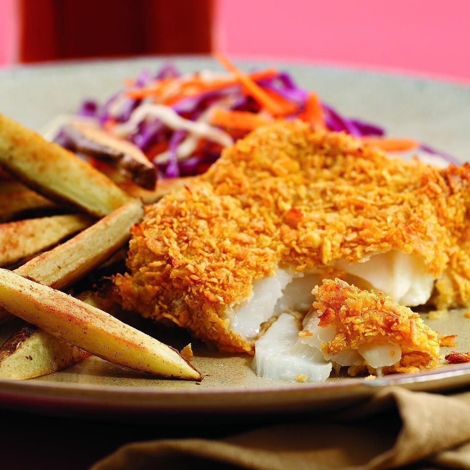 Oven fried fish chips recipe eatingwell for How many calories in fried fish