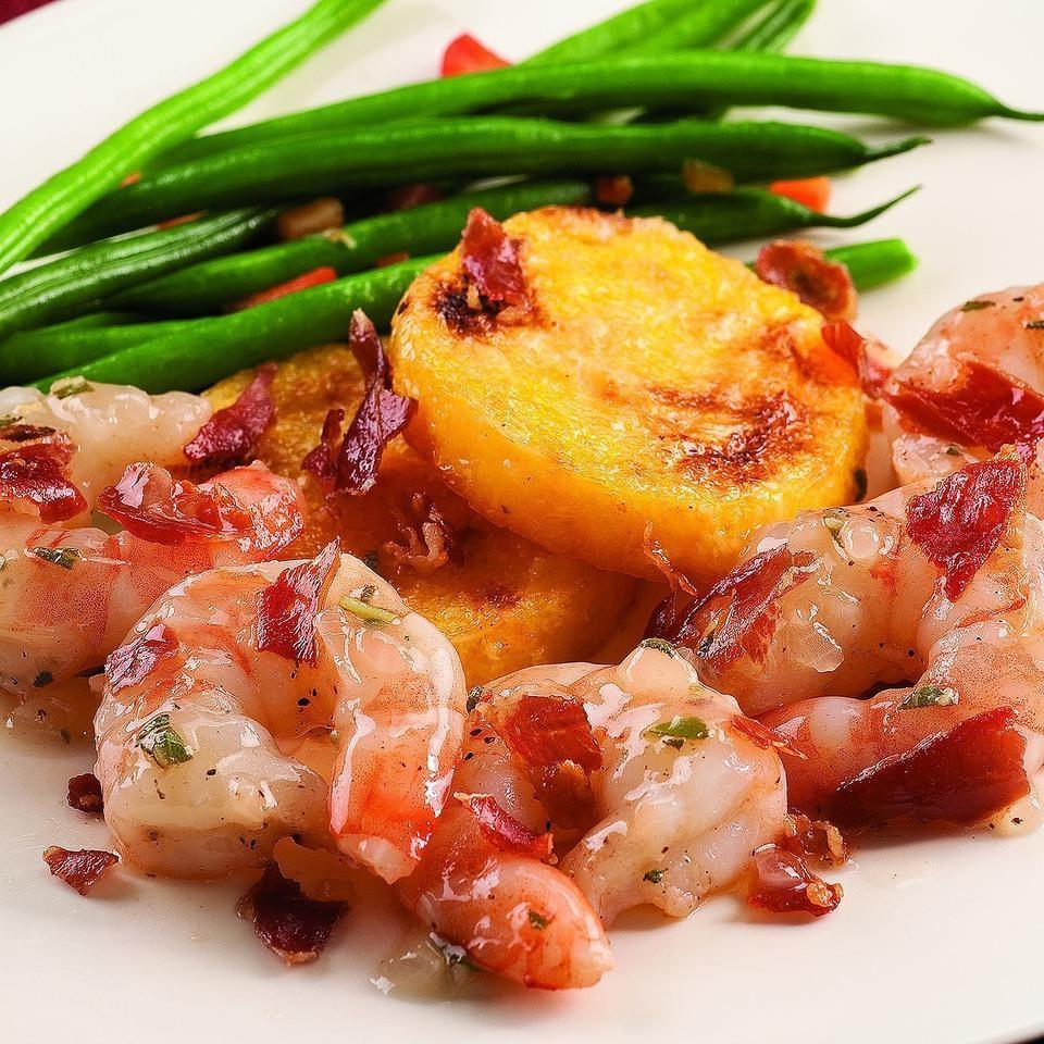 Shrimp Saltimbocca with Polenta